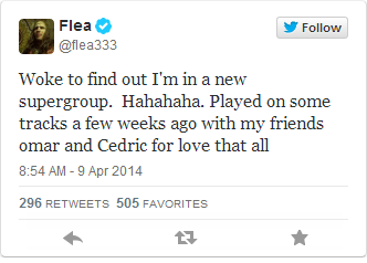 Latest from Flea, who tweeted about the group on his official account this morning.